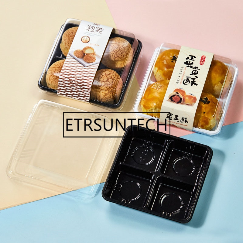 500 juegos 12,5x12,5x5 cm plástico 4 caja contenedora Cupcake Mousse Cake caja Mooncake Blister caja hornear postre embalaje