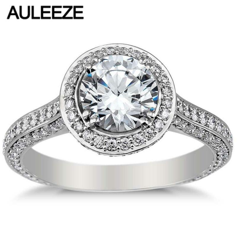 Anillo de moissanita brillante redondo Halo de lujo de 1CT de oro blanco de 14 K, anillo de compromiso de boda con diamantes cultivados en laboratorio, joyería fina