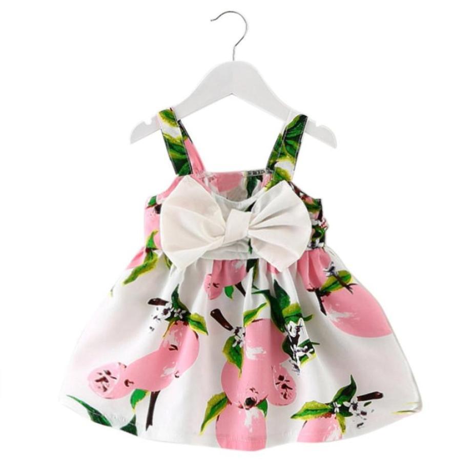 Roupa da menina do bebê limão impresso vestido de verão infantil roupa sem mangas princesa arco vestidos de casamento venda quente roupas bonitos verão