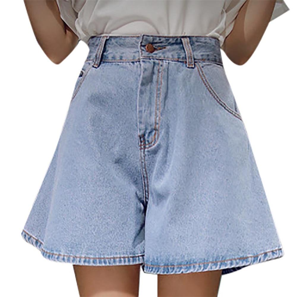 JAYCOSIN Women's Clothing Stretch Loose Jeans Shorts Ladies Fashion Casual High Waist Broad-Legged D