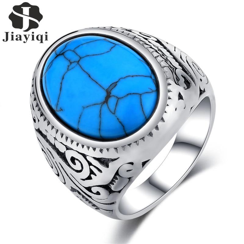 Anillo Jiayiqi Vintage para hombre, piedra azul, acero inoxidable alto pulido, joyería para hombre, anillo con abalorio de Color plateado para hombres, alta calidad