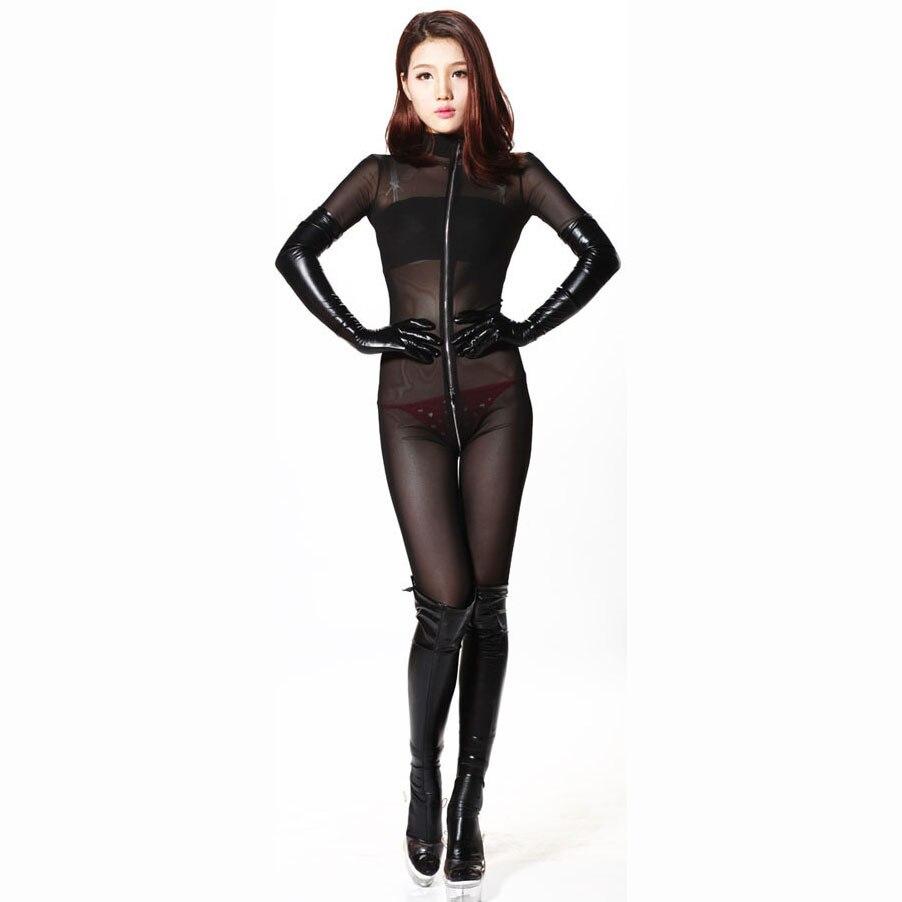 Xxl Lange Mouwen 3 Rits Open Kruis Bodysuit Rompertjes Womens Jumpsuit Transparante Wetlook Bodystocking Sexy Hot Erotische Babydoll