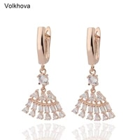 exquisite fan shaped aaa cubic zirconia water drop sector dangle earrings women brincos zircon jewelry
