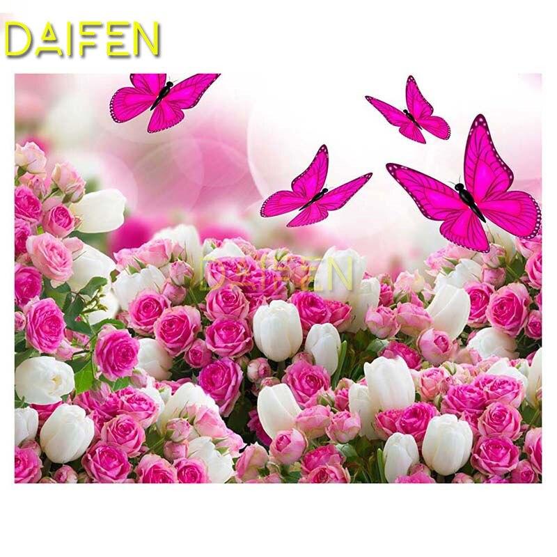 5D DIY, bordado de diamantes, punto de cruz, cuadro completo de diamantes redondos, mosaico de diamantes cuadrado completo, mariposa rosa, Rosa Blanca