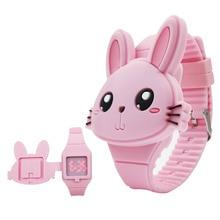 1 Pcs Kinder LED Elektronische Uhr Silikon Band Cartoon Kaninchen Flip Fall Armbanduhr Schöne Geschenk AIC88