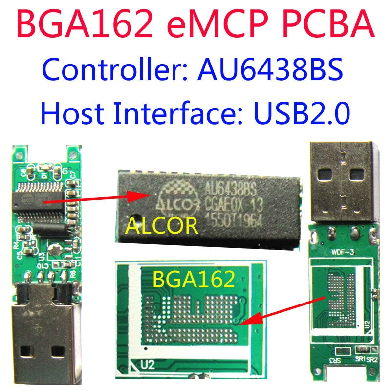 USB флеш-накопитель PCBA, AU6438BS USB2.0, поддержка eMCP BGA162,DIY мобильный телефон/handset eMCP NAND FLASH, карта pendrive Reader PCBA