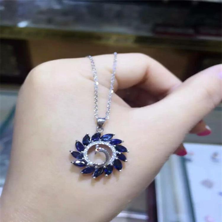 KJJEAXCMY joyas de boutique 925 incrustaciones de plata pura natural shandong zafiro ola flor Fénix estilo colgante + collar