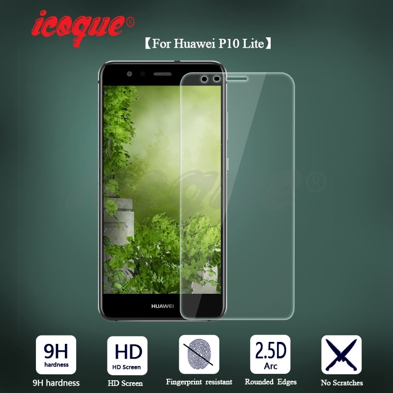 Icoque 2.5D 9H vidrio templado para Huawei P10 Lite Protector de pantalla P10lite cubierta del teléfono película de visualización para Huawei P10 Lite vidrio