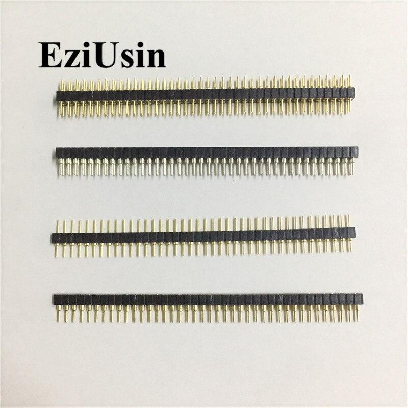 2,0mm 2,0 1*40 Pin 2*40P macho redondo hembra individual/perno de doble fila, tira de conector PCB para arduino 1x40 2 x40