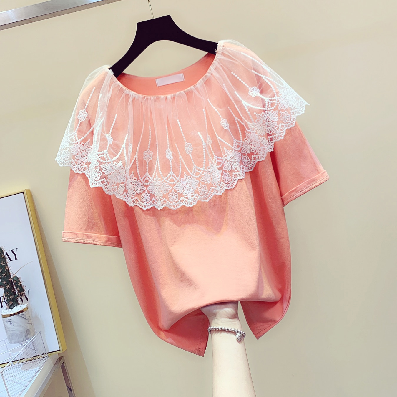 Swee Cloak escote con volantes de manga corta Top mujer malla empalmada cuello redondo suelta verano camiseta chica estudiantes camisetas de algodón