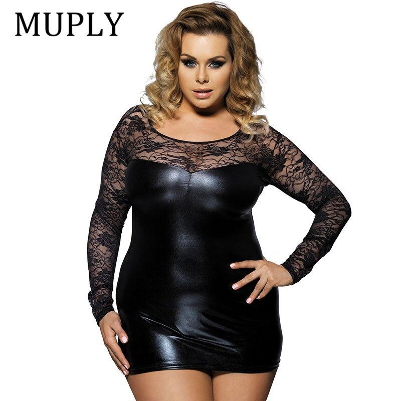 Lato Sexy kobiety PU skórzana sukienka Muply z długim rękawem Bodycon sukienka do biura Midi czarny seksowny klub bielizna nocna Plus rozmiar 6XL