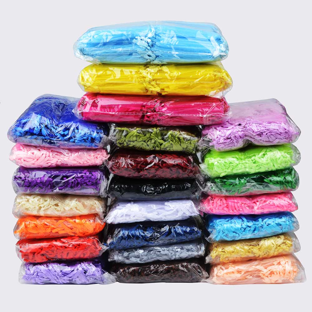 500pcs/lot Wholesale Organza Bags 7x9 9x12 10x15 13x18cm Drawable Wedding Packaging Gift Bag Party Jewelry Bags Pouches