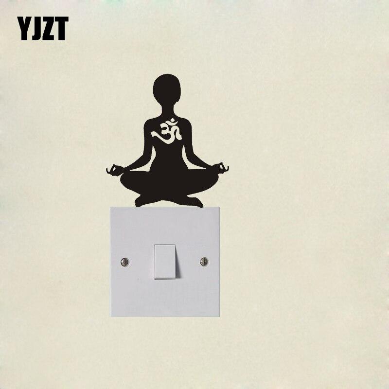 Yoga Om Aum Silhouette Funny Fashion Wall Sticker Vinyl Switch Decal 7SS0129