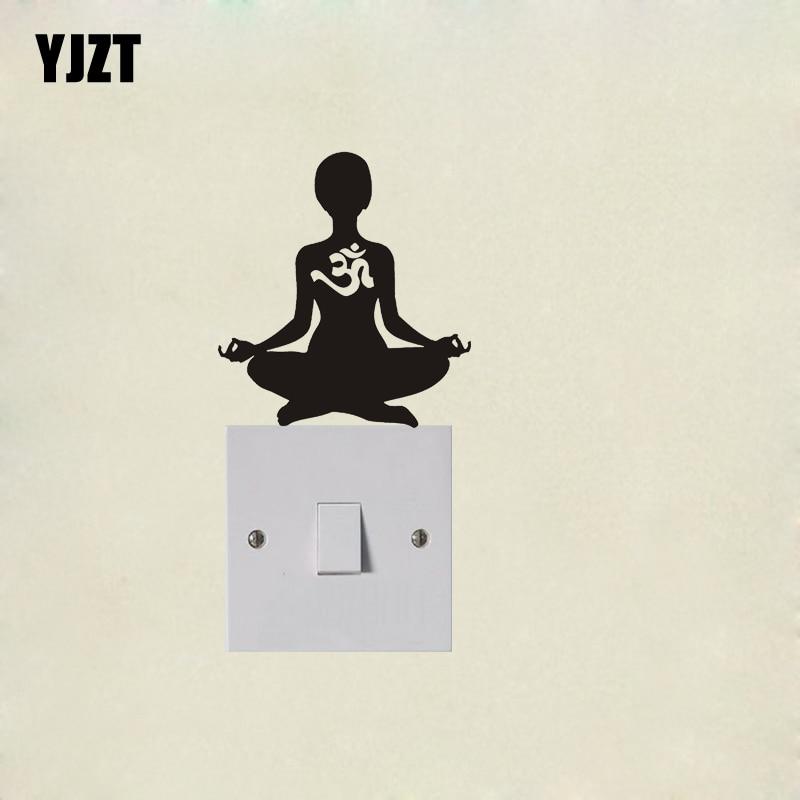 Yoga Om Aum, silueta divertida, pegatina de pared de moda, calcomanía de interruptor de vinilo 7SS0129