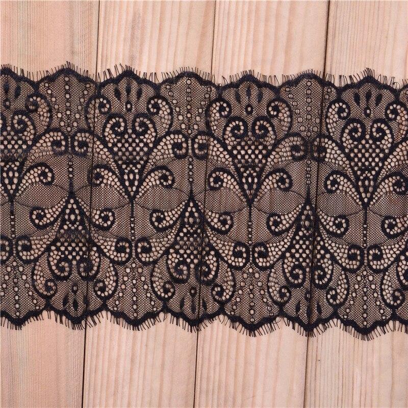 Tela de encaje africano Trim 3 metros/lote decoración de boda pestañas negras cinta de encaje accesorios de costura 20cm de ancho LT021 2017