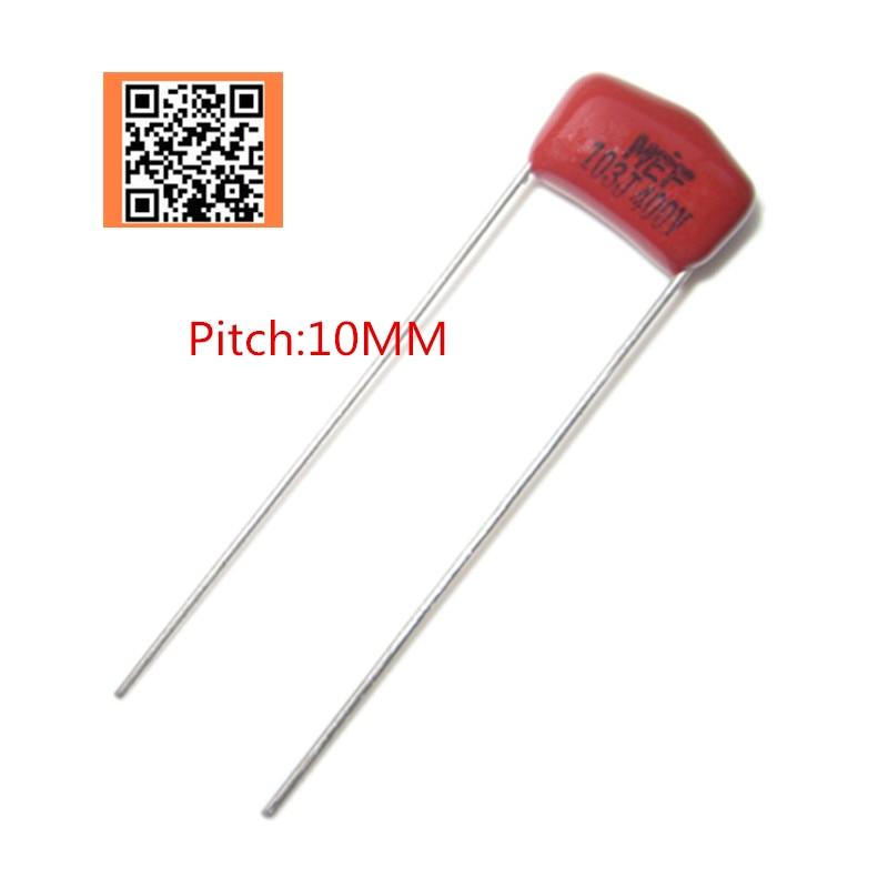 Pcs 400 V 10NF 10 103J 154J 33NF 104J 150NF 333J 100NF 0.1 UF 0.15 UF Passo 10 milímetros p10mm 400 V DIP 5% CBB filme de Polipropileno capacitor