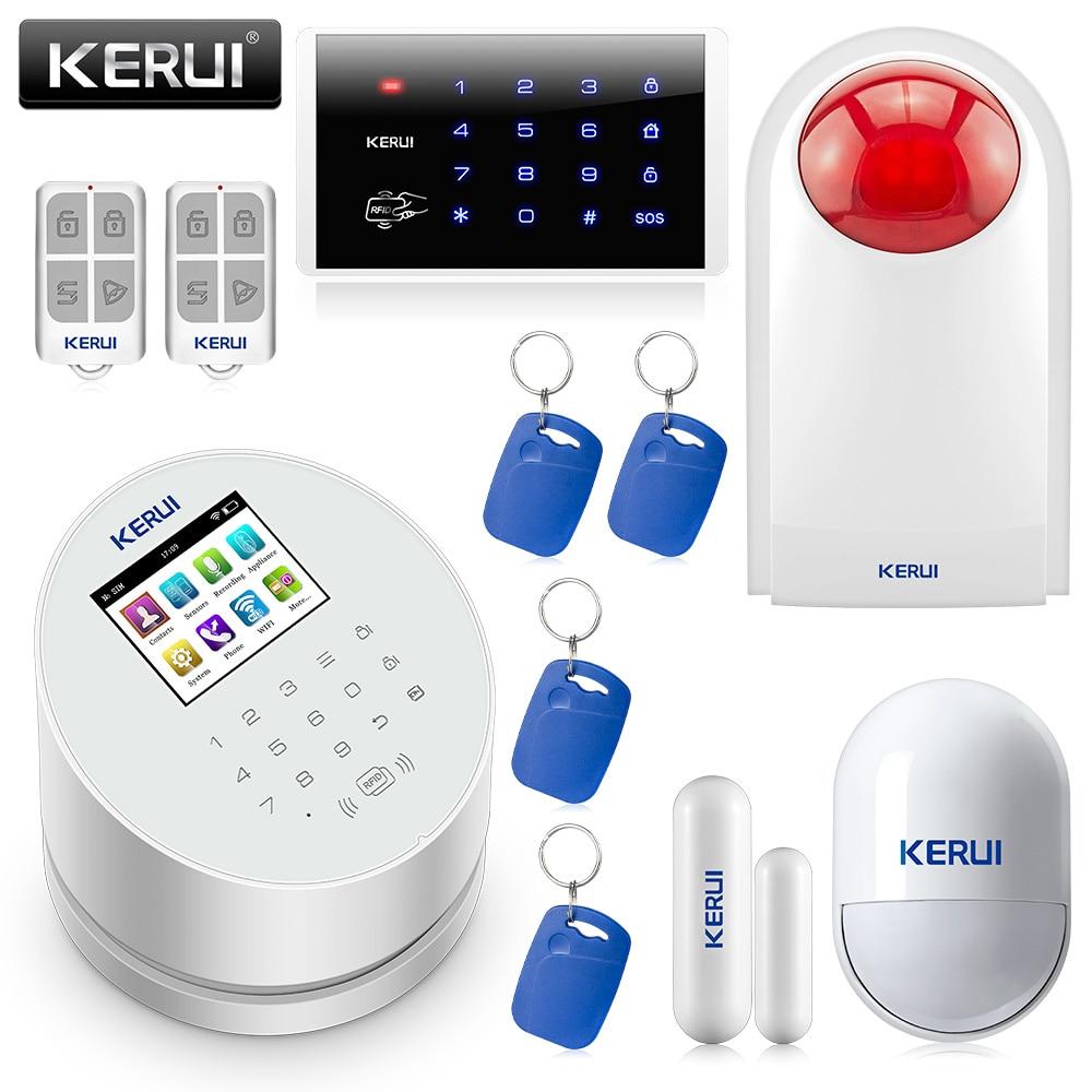 KERUI W2 2,4 pulgadas WIFI GSM PSTN alarma hogar inteligente alarma antirrobo Sistema IOS Android APP Control contraseña teclado Kit de sirena