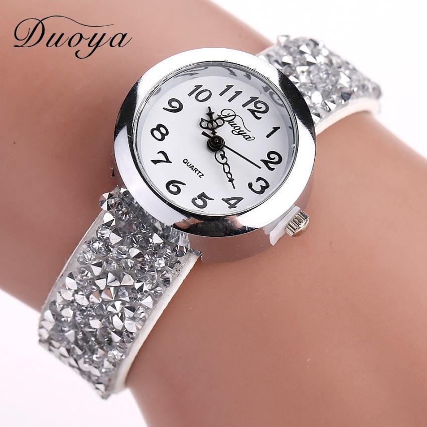 Reloj de cuarzo con diamantes para mujer, reloj de marca de lujo para mujer, reloj pulsera de joyería relogio feminino # D