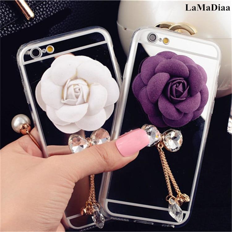Funda de teléfono para xiaomi 8 9 SE MAX2 5X 6X Redmi 5A 6A 8A nota 5A 6 7 8 Pro de concha de moda de acrílico espejo flor suave fundas de tpu Capa