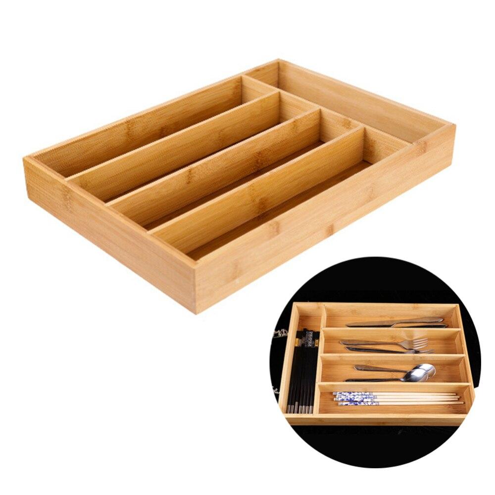 36*25,8*4,8 cm 5 rejilla cocina Almacenamiento de cubiertos caja de bambú cubertería bandeja cajón organizador 5 compartimentos cocina divisor caja de almacenamiento