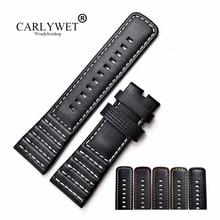 CARLYWET 28mm vente en gros vrai cuir avec noir blanc Orange rouge jaune points bracelet de montre bracelet ceinture pour sept jours