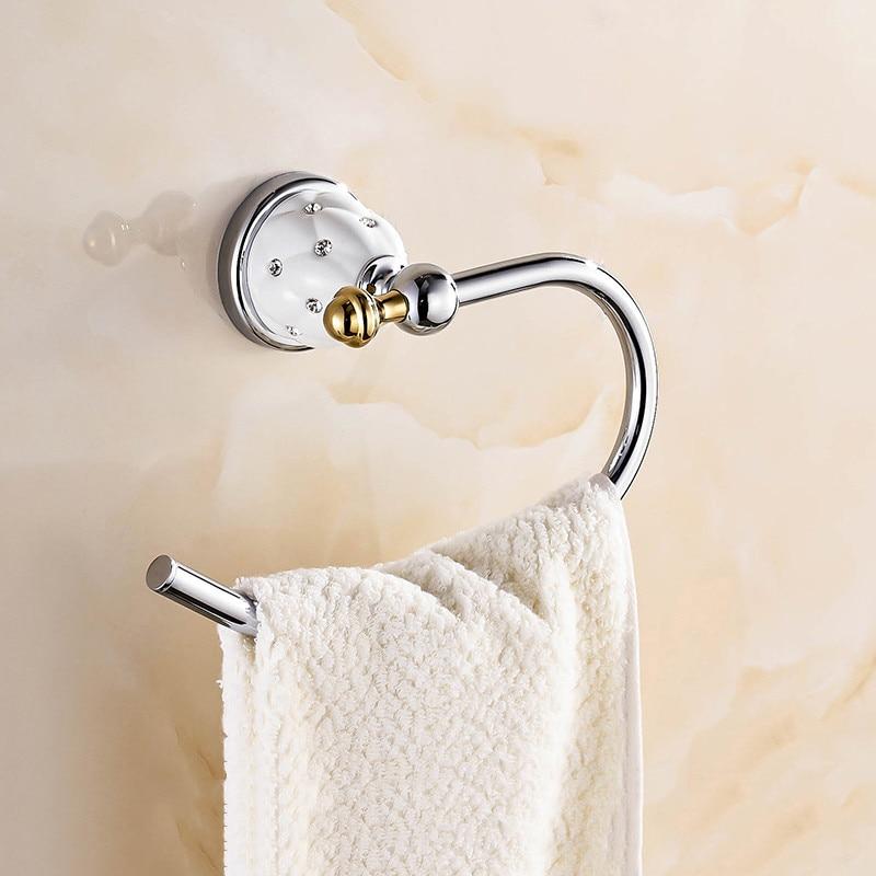 حلقة مناشف نحاسية عتيقة ، ألماس ذهبي ، إكسسوارات حمام ، حامل مناشف ، قضيب منشفة ، إكسسوارات حمام مثبتة على الحائط