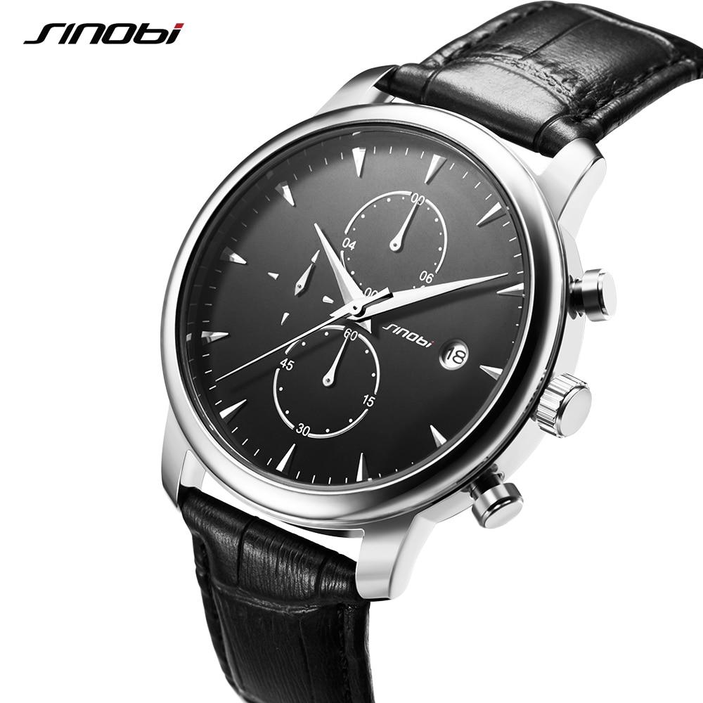 SINOBI Мужские наручные часы, Топ бренд, роскошные кожаные повседневные кварцевые часы, мужские часы с секундомером и календарем, швейцарские ...