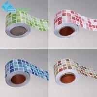 Autocollants muraux creatifs pour plinthes  carreaux auto-adhesifs impermeables  ligne de taille  mosaique  Film de decoration pour la maison  la salle de bain et la cuisine