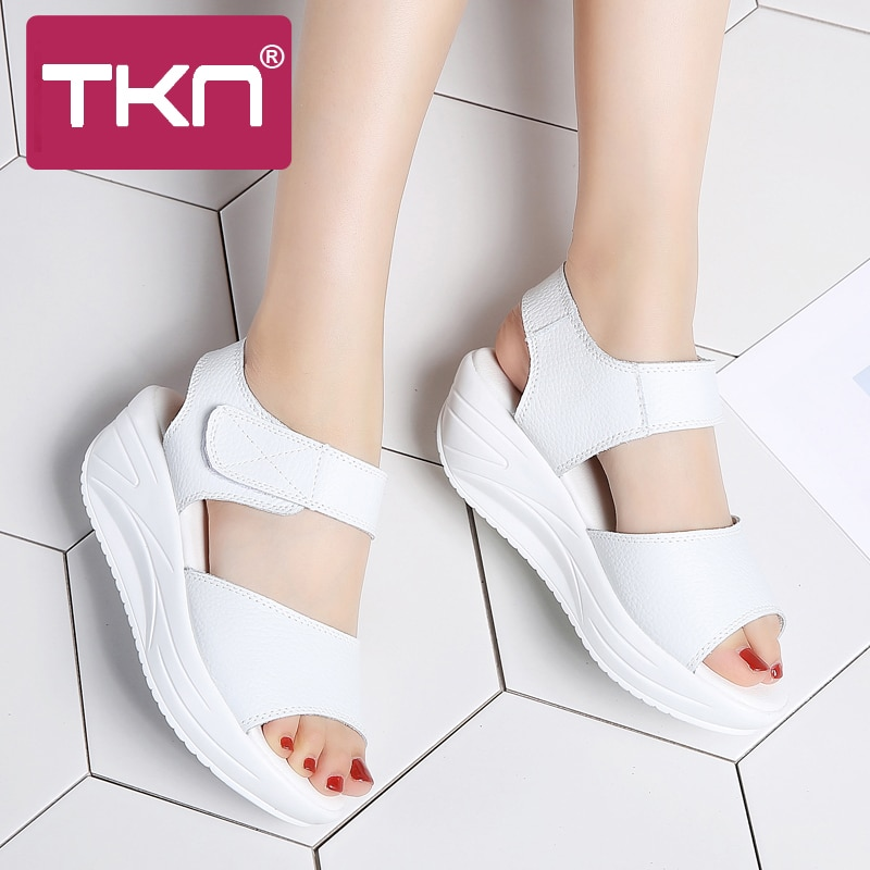 TKN 2019 spring women platform sandals white sandals Open Toe wedge sandals gladiator sandals women sandalias mujer shoes 9018