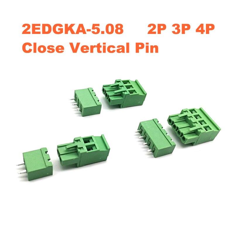 5 uds Pitch 5,08mm 2/3/4P tornillo terminal enchufable PCB bloque conectores morsettera 2EDGKA + VC Pin recto macho/hembra Bornier