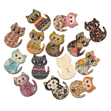 50pcs Multicolored Sewing Buttons Cat 2 Holes Holiday Supplies For Party Wholesale Wood Printing Sew
