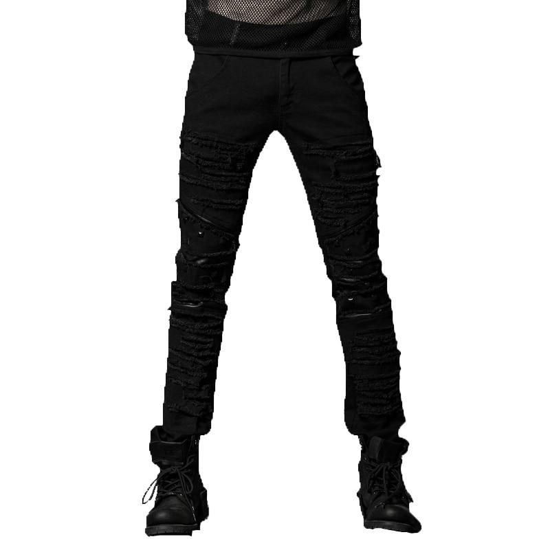 Punk Black Ripped Trousers Elastic Coarse Slanting Stripe Men Slim Mid Waist Full Length Patchwork Jeans With Pockets