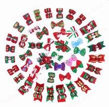 Poils de noël chien chiot chien chat   20 pièces/10 paires, nœuds de cheveux, couleurs vives, Styles mélangés, fournisseurs danimaux de toilettage