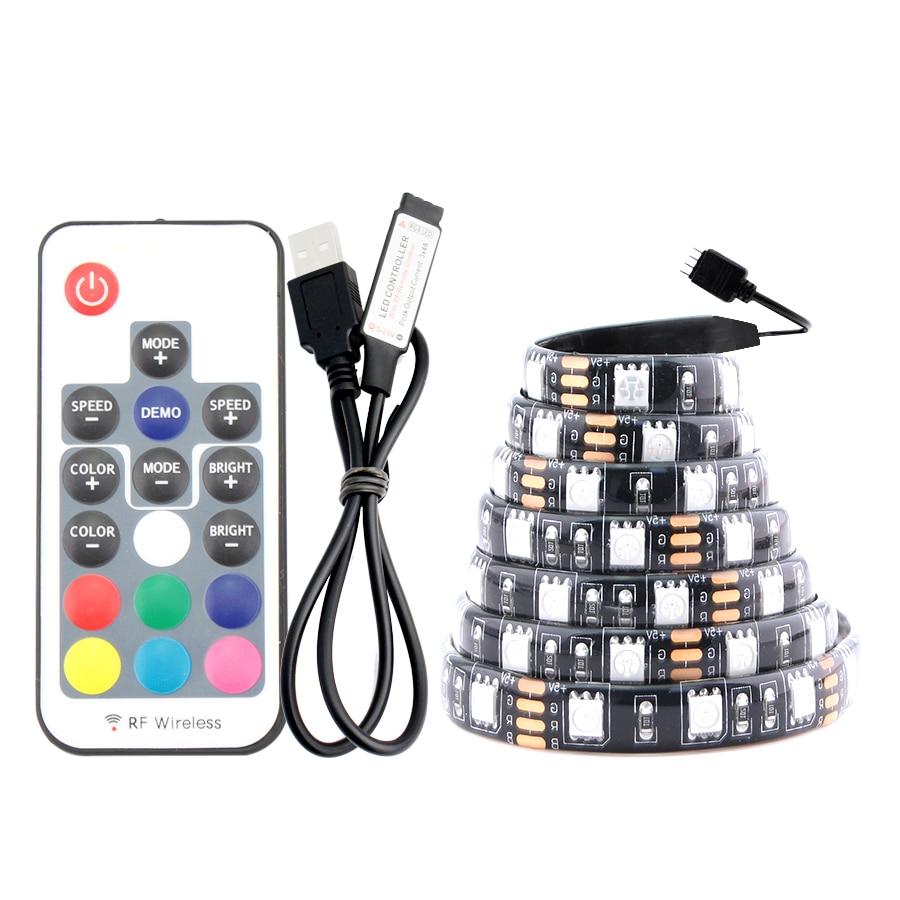 Usb Led Strip Licht 5V Pc Rgb 5050 1M 60led/M 3 17 Key Controller Usb Led strip 5V Rgb Tv Backlight Waterdichte Tape Diode Lamp