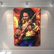 Bob Marley Banner de música rock banda reggae Jamaica casa decoración colgante bandera 4 Gromments en las esquinas 3 * 5FT 144cm * 96cm
