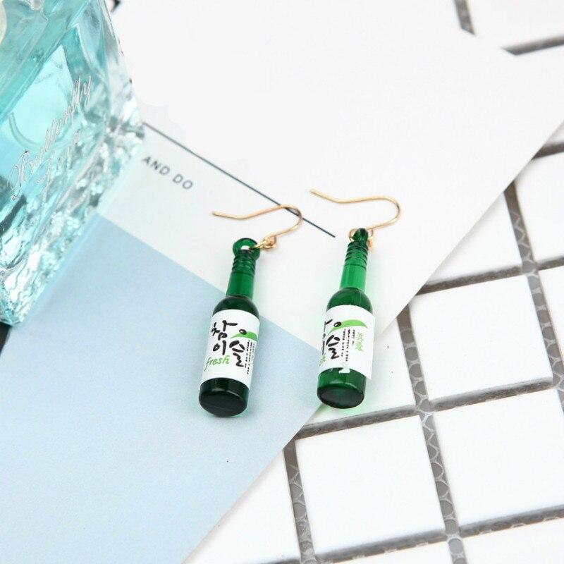 Rongbin nuevo estilo de resina de vidrio falso botella de cerveza pendientes para mujeres Boucle doreille moda coreana gota Pendiente joyería Pendiente