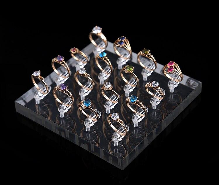 Soporte de anillo acrílico cuadrado bandeja de exposición de anillo Clips de 16 anillos soporte organizador de anillo expositor de joyas caja de joyería