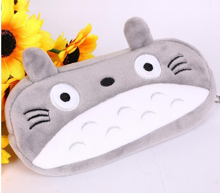 5 unid/lote estuche lápices dibujos coreanos Totoro plush bolsa grande para lápices suministros escolares para niños caja de papelería para estudiantes