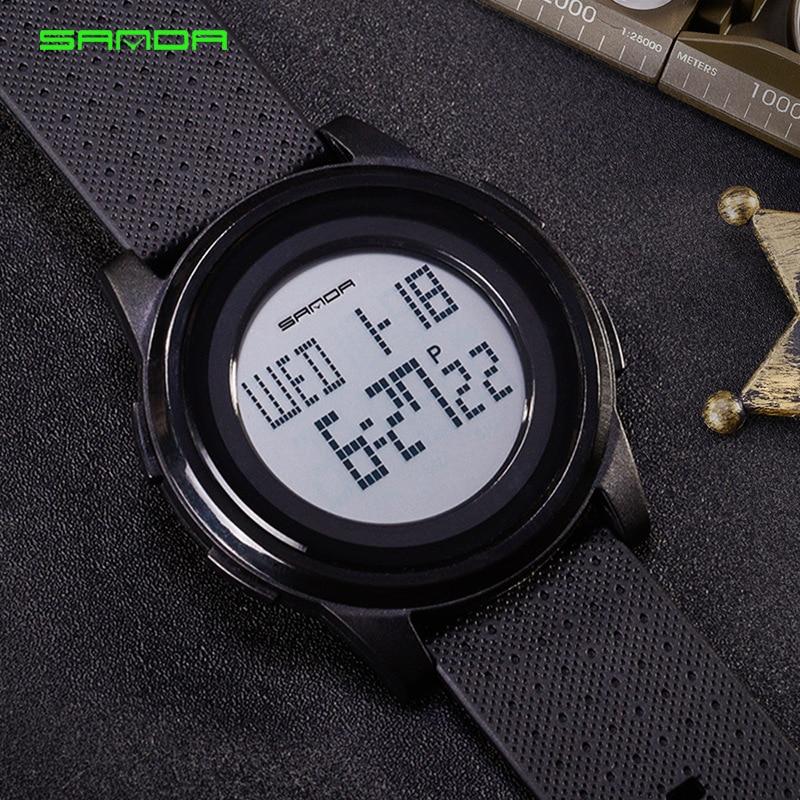 Sanda reloj deportivo Led Digital Seiko movimiento impermeable luminoso Ultra delgado estudiantes reloj de moda relojes de pulsera electrónicos