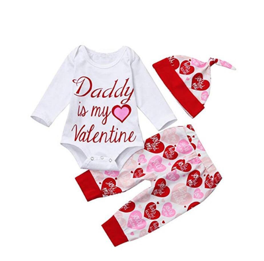 3 uds por conjunto Papi es mi San Valentín impreso de manga larga Body de bebé niña rojo pantalones de amor para 0-24Months