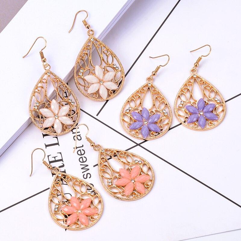 Suki vintage ouro oorbellen gota oco para fora balançar gancho brincos pingente de flor grande gota brincos para jóias femininas pendientes