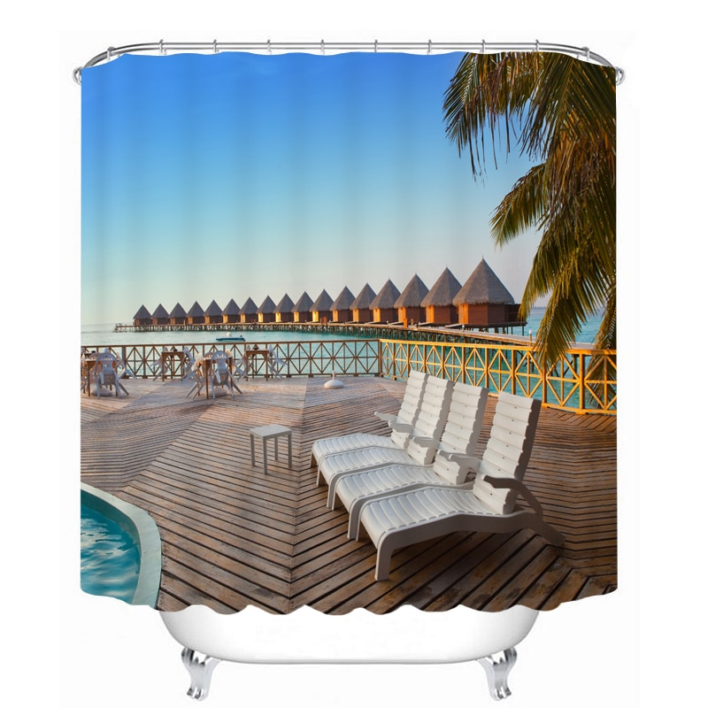 MYRU 3D Print Waterproof  Beach Beauty Shower Curtains Bath Products Bathroom Decor with Hooks