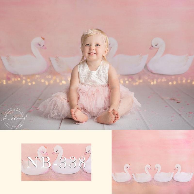 Pano de Fundo para a Fotografia do Chuveiro do Bebê Festa de Aniversário Fundo para Crianças Branco Cisne Recém-nascido Rosa Foto Backdrops Estúdio