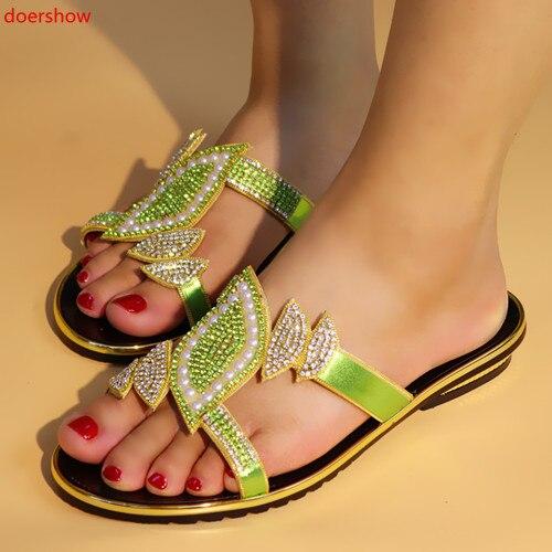 Doershow, zapatillas de piel sintética de tacón bajo de alta calidad, sandalias Moda Africana, zapatos para mujer, color verde limón, a la venta, zapatos de fiesta, KL1-29