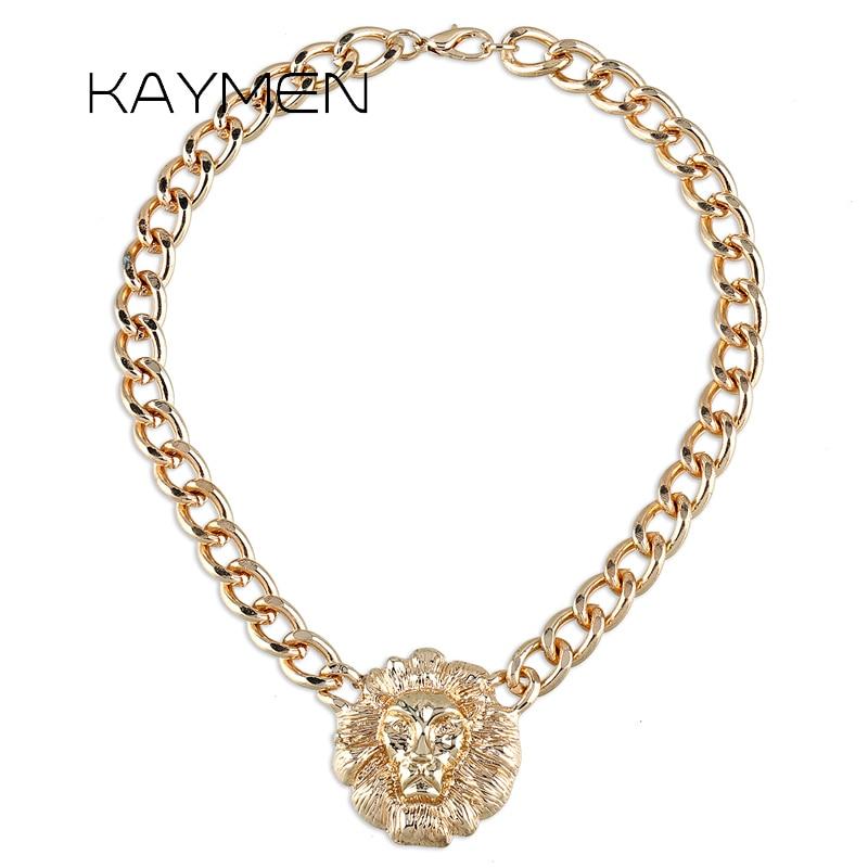 Nueva cadena dorada de moda con collar con colgante de León para chicas estilo Punk, colgante fiesta de graduación, collar de joyería para hombre 4036