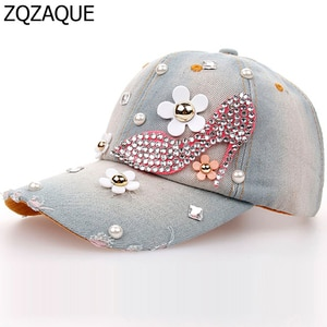 New Arrival Fashion Female's Denim Baseball Caps High Quality Flower Decorated Manual Drill High Heel Shoe Pattern Hats SY549