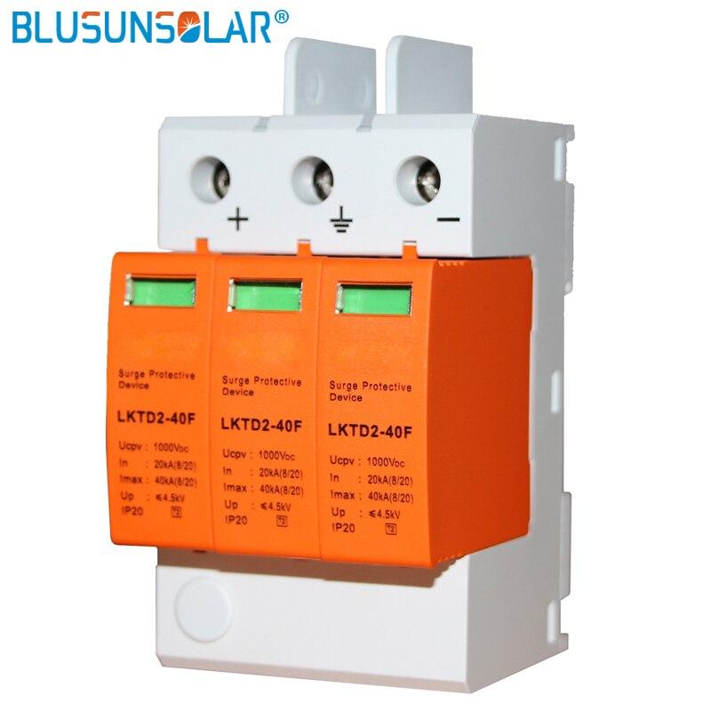 1 unids/lote 3 P DC1000V SPD 20/40KA DC de supresor de dispositivo de protección para el sistema Solar protección con control remoto función de señal