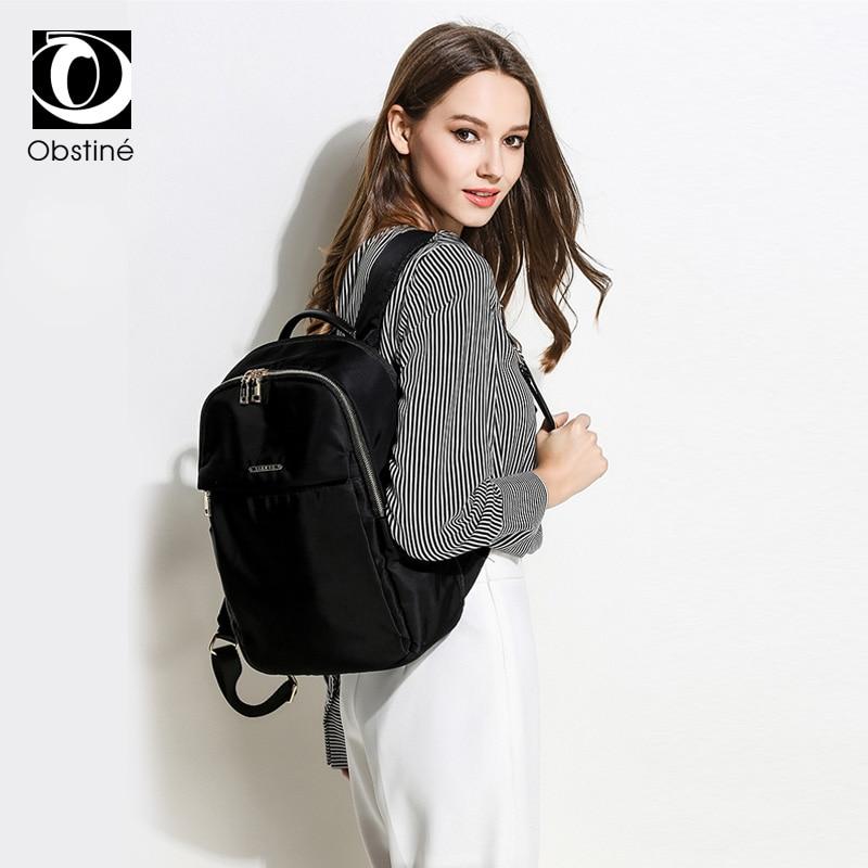 حقيبة ظهر كبيرة مقاومة للماء للنساء ، حقيبة ظهر للكمبيوتر المحمول مقاس 15.6 بوصة ، حقيبة سفر سوداء فاخرة للبنات