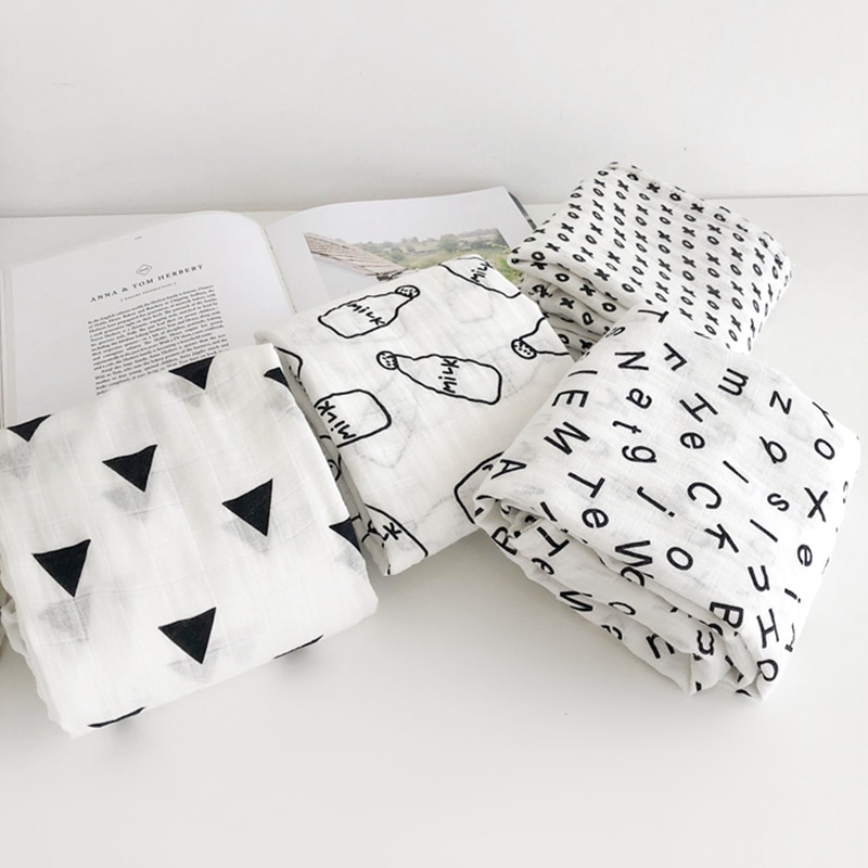 100% Muslin Cotton Blankets For Kids Dinosaur Unicorn Patterns Multi-use Newborn Swaddle Infant Gauze Both Towel Baby Wrap