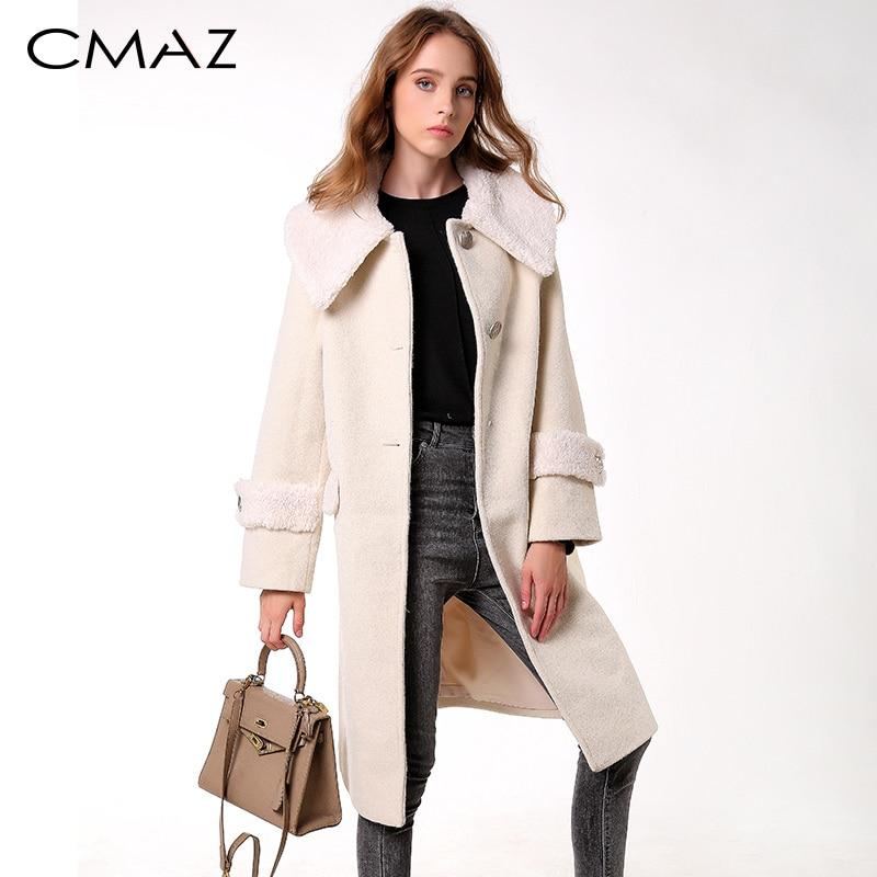 CMAZ 2019 otoño e invierno abrigo de lana mujer medio-largo nuevo temperamento coreano mujeres popular abrigo de lana MX18D9669